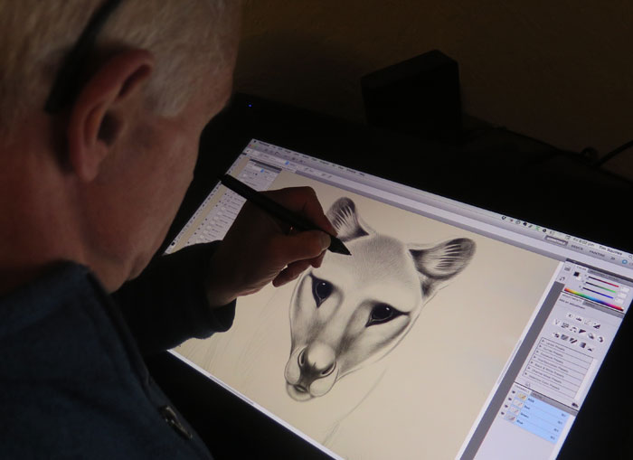Tim Squires creating digital artwork of a thylacine using a Wacom Cintiq 22HD