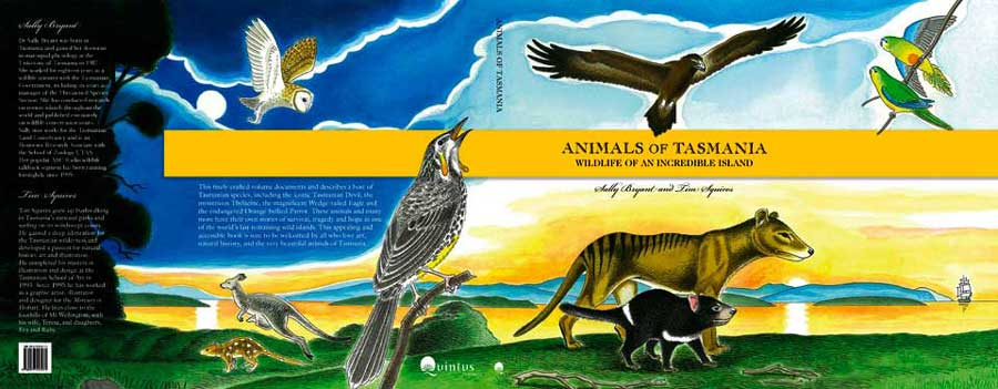 Animals of Tasmania cover wrap. Ink and wash.