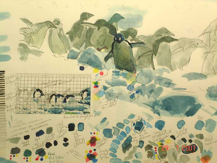 Tim Squires watercolour adelie penguins