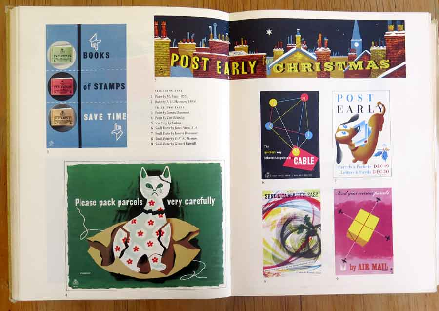 Posters for the British Post Office from the 1956 Golden Jubilee edition of the Penrose Annual.