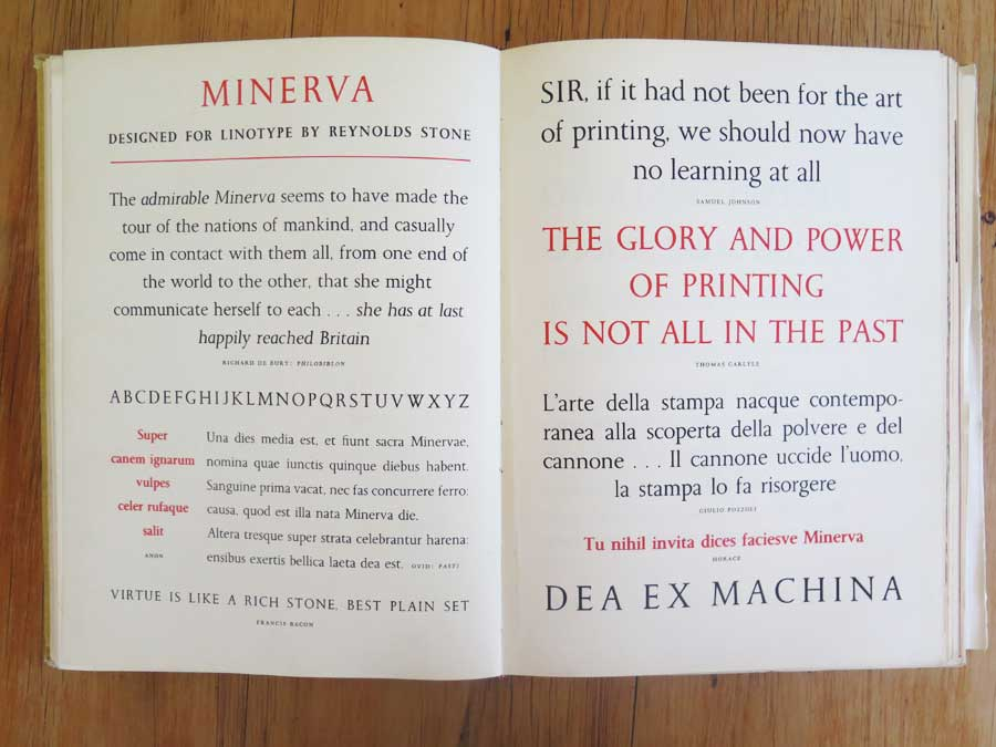 Samples of the typeface Minerva from the 1956 Golden Jubilee edition of the Penrose Annual.
