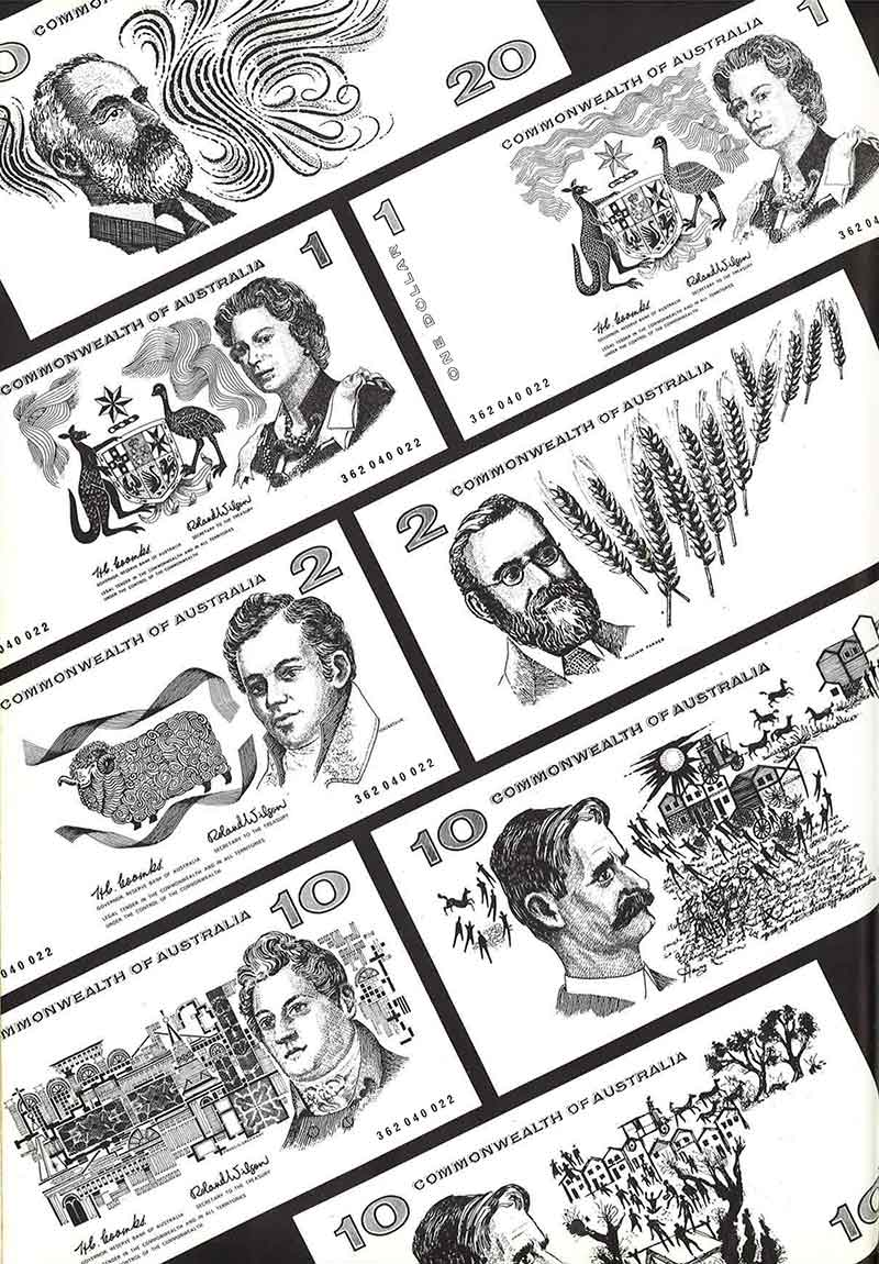 Australian decimal currency banknote design concepts by Gordon Andrews.