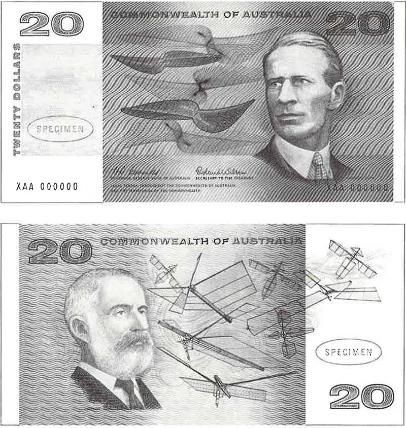Front and back of the 1966 Australian twenty dollar note.