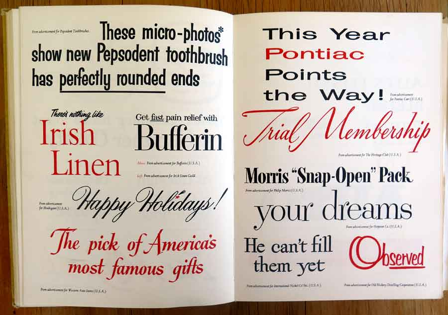 Examples of advertising lettering and fonts from the 1956 Golden Jubilee edition of the Penrose Annual.