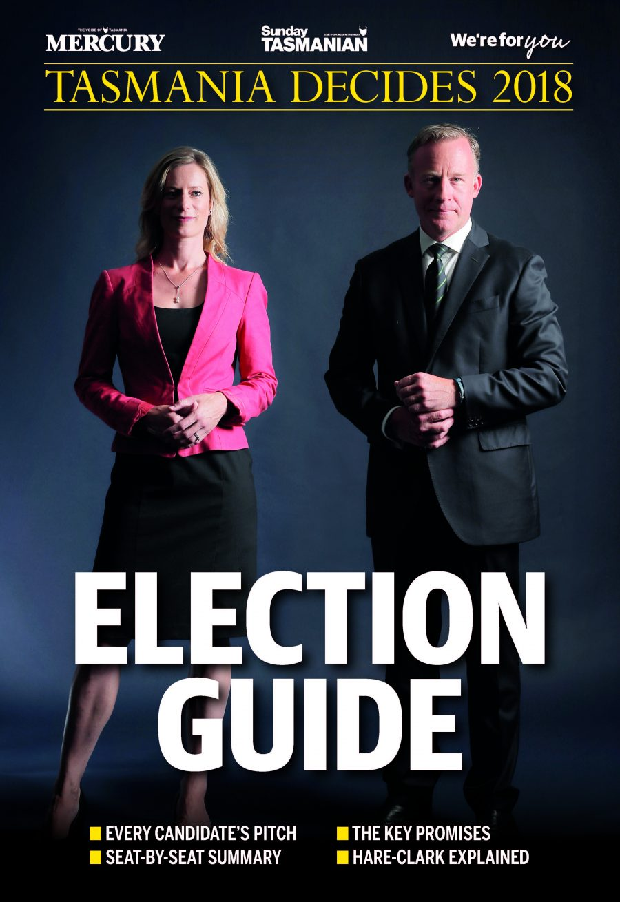 Design for the Mercury's 2018 Tasmanian State Election Guide cover.