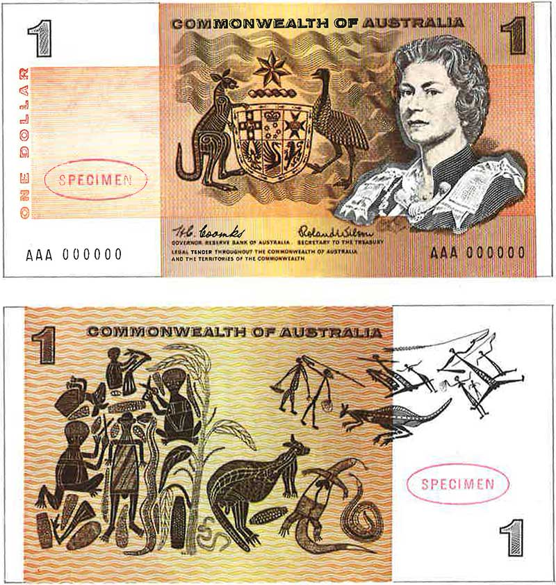 Front and back of the 1966 Australian one dollar note.