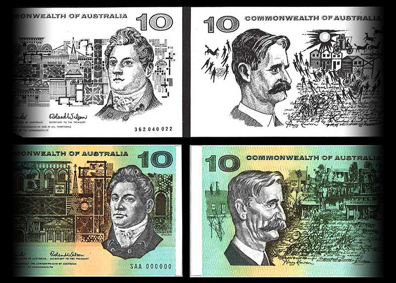 Australian decimal currency banknote designs by Gordon Andrews compared with the final, printed notes.